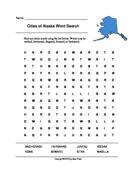 Cities of Alaska Word Search (Grades 3-5)