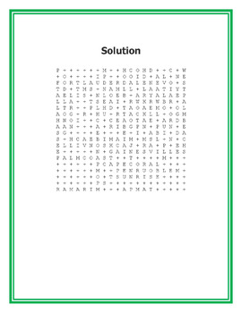 Cities of Florida Word Search Puzzle