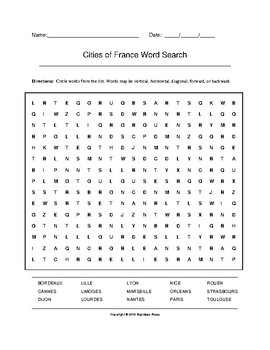 Cities of France Word Search (Grades 7-10)