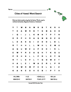 Cities of Hawaii Word Search (Grades 3-5)