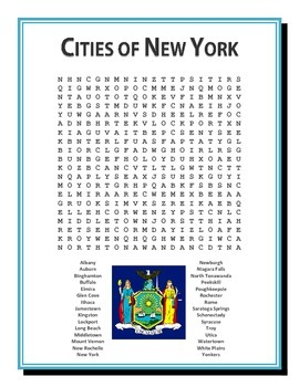 Cities of New York Word Search Puzzle