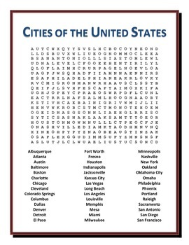 Cities of the United States Word Search Puzzle