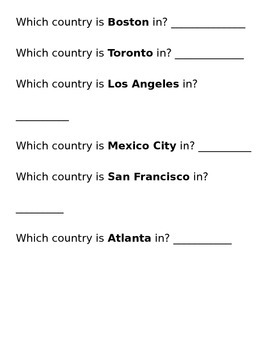Cities vs. Countries Sort - North America