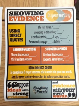 Citing Evidence Anchor Chart Poster [Physical Copy]