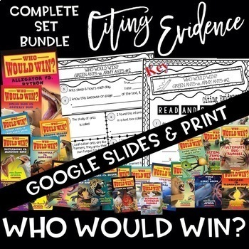 Citing Evidence WHO WOULD WIN? BUNDLE Nonfiction Response