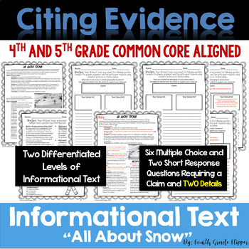 Citing Evidence: Informational Text Dependent Questions Season Bundle