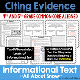 Citing Evidence: Informational Text Dependent Questions Two Details (Winter)