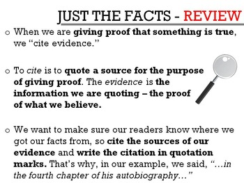 Citing Evidence Lesson: PowerPoint for Text Based Facts Essay Prep! +Worksheets!