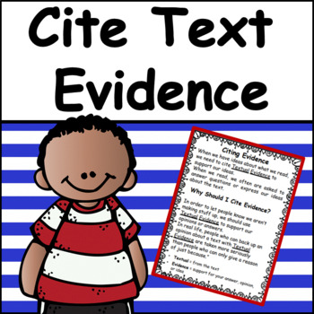 Reading Comprehension: Citing Text Evidence/Open Ended Questions