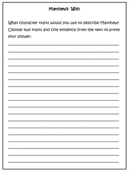 Reading: Citing Text Evidence/Open Ended Questions