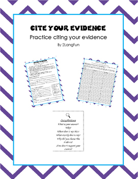 Citing Evidence Practice in English