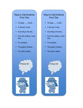 Citing Evidence Sentence Starters- Bookmark Form