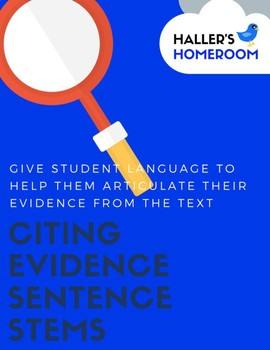 Citing Evidence Sentence Stem [Poster & Individual Student Cards]