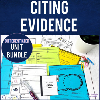 Citing Evidence TRESmart™ UNIT - Lesson w/ Visual Notes, Practice & More!