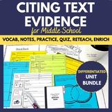 Citing Textual Evidence Printable Unit BUNDLE   Vocab Note