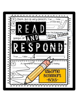 Citing Evidence in Informational Texts Reading Response Usborne: Bats