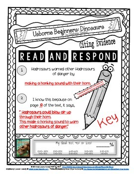 Citing Evidence Nonfiction Response USBORNE: DINOSAURS