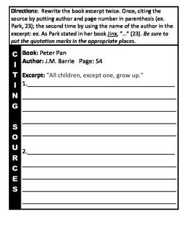Citing Sources Practice Worksheets