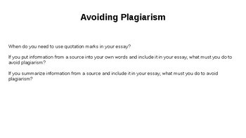 Citing Sources and Avoiding Plagiarism Review