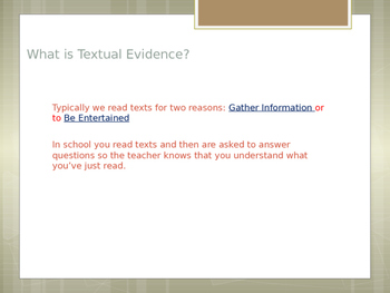 Citing Text Evidence 101
