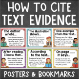 CITING TEXT EVIDENCE Posters, Bookmarks, and Student Reference Sheet