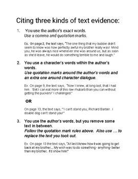 Citing Text Evidence- 3 ways