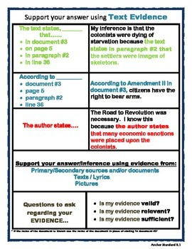 Citing Text Evidence Chart (SS)