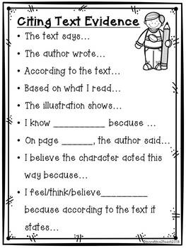 Citing Text Evidence Poster {Freebie} by More Time 2 Teach  TpT
