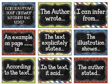 Citing - Text Evidence Posters and mini-cards