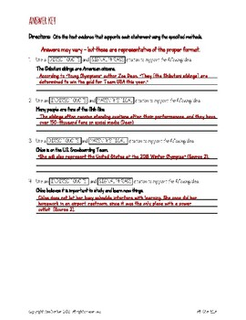 Citing Text Evidence - Practice Page