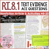 Citing Text Evidence RI.8.1 | High School Football Turns Deadly Article #8-20