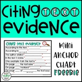Citing Text Evidence Sentence Stem Poster FREEBIE