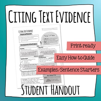 Citing Text Evidence Student Reference Handout