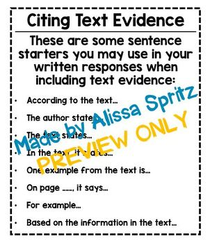 Citing Text Evidence Tool - Writing