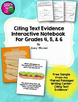 citing text evidence in essay writing interactive notebook bie