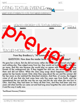 Citing Textual Evidence Mini-Lesson, 10-Minute Mastery, PowerPoint Slides