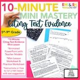 Citing Textual Evidence Mini-Lesson, 10-Minute Mastery, Po
