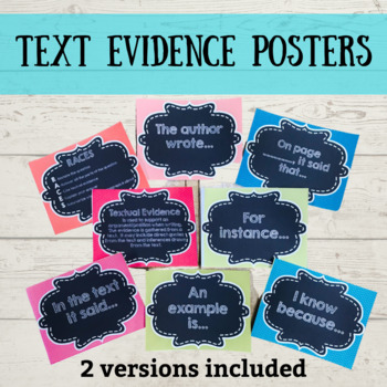 Citing Textual Evidence Posters & Mini Posters