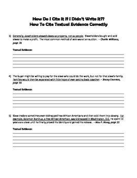 Citing Textual Evidence Practice Worksheet