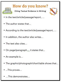 citing evidence from the text sentence starters for persuasive essays