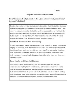 Citing Textual Evidence Unit and Pacing Guide