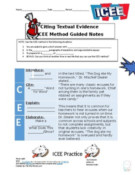 Citing Textual Evidence with the ICEE Method- Activity and PowerPoint