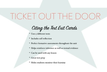 Citing the Text Exit Cards *CCSS Aligned *Bundle (Includes 5 different cards)