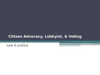 Citizen Advocacy, Lobbyist, & Voting