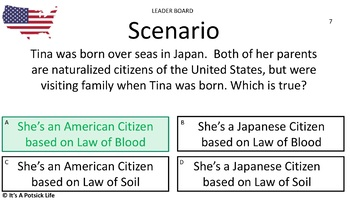 Citizen Game-Civics US History- Citizenship,Rights, Obligations,Responsibilities