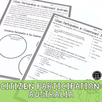 Citizen Participation in Gov't: Australia Reading Activity (SS6CG4, SS6CG4a)