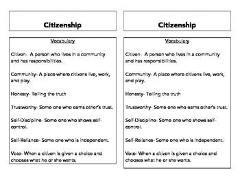 Citizen Vocabulary Interactive Notebook
