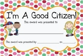 Citizen and Community Vocab Sign and Good Citizen Award