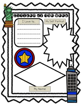 Citizen of the Week Posters (City/Town Themed Star of the Week)