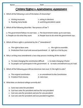 Citizen's Rights and Amendments ASSESSMENT - 5th Social Studies